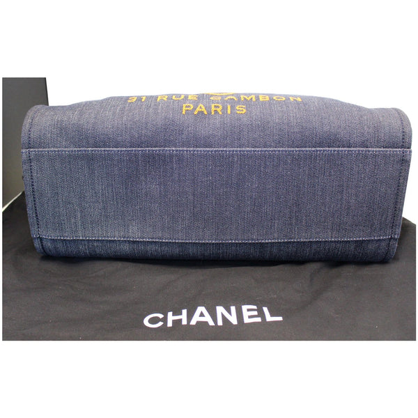 CHANEL Deauville Large Denim Shopping Tote Bag Dark Blue