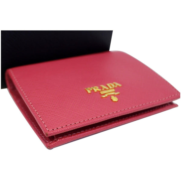 Prada Saffiano Wallet | Bifold Card Wallet Red - Laid down View