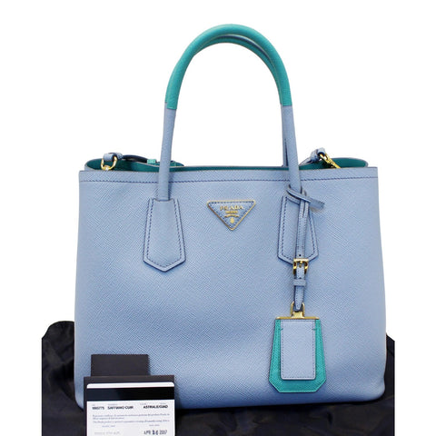 PRADA Lux Saffiano Leather Tote Shoulder Bag Blue