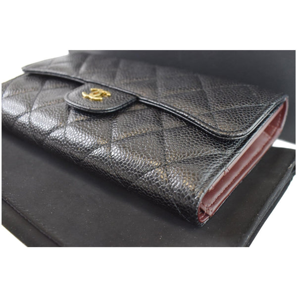Chanel Large Flap Quilted Caviar Leather Wallet Women