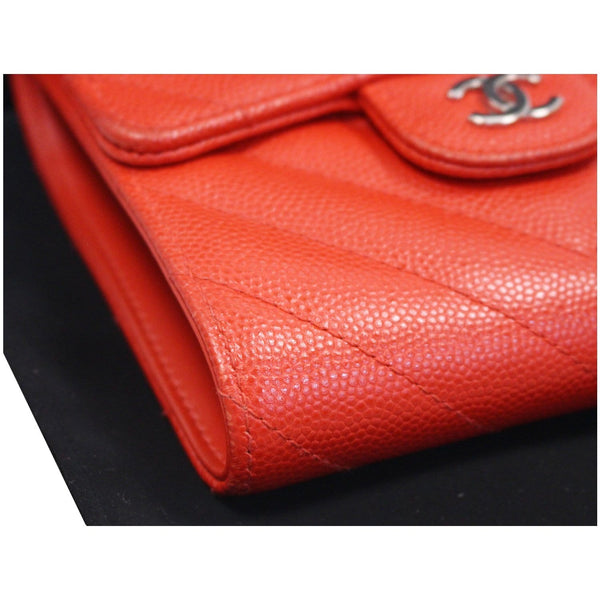 CHANEL Small Chevron Quilted Caviar Compact Flap Wallet Red