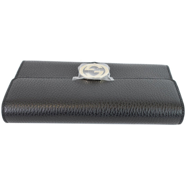 GUCCI GG Interlocking Continental Leather Wallet Black 598166