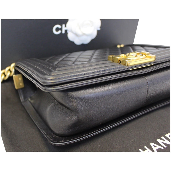 used Chanel Le Boy Medium Flap Bag Caviar Leather Black