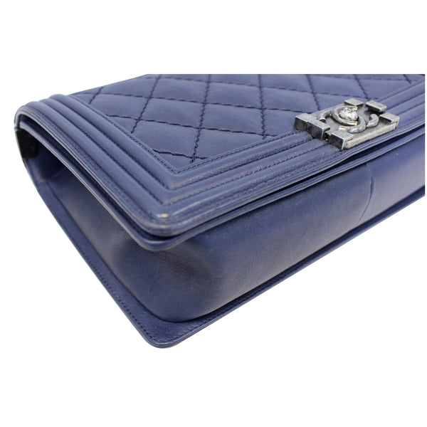 Chanel New Medium Boy Flap Calfskin Double Stitch Bag Navy exterior