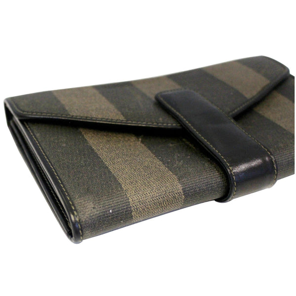 Fendi Vintage Pequin Stripe Wallet Brown - patent leather