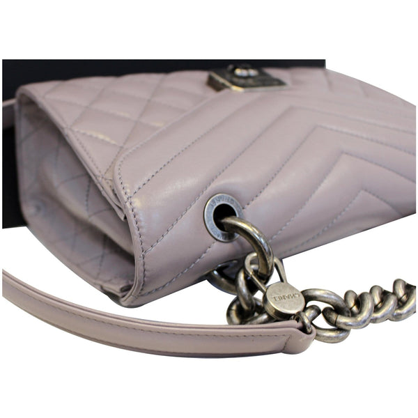 Chanel Flap Bag Quilted Sheepskin with Handle Lilac corner view