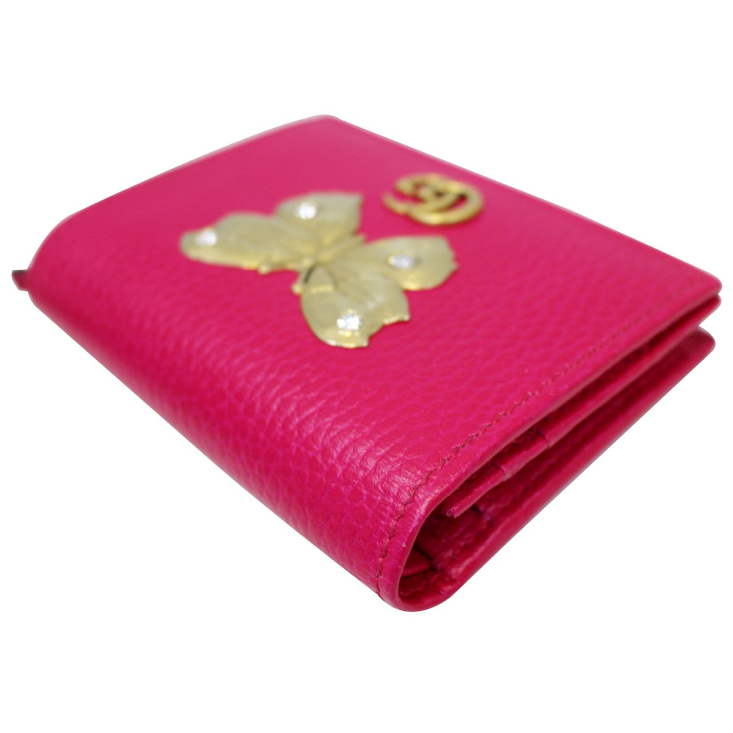best service 63b5d 1b90d GUCCI Butterfly Leather Card Case Wallet Pink 499361-US
