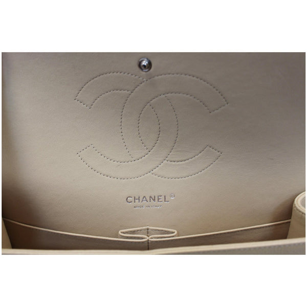 Chanel Jumbo Double Flap Caviar Leather Shoulder Bag Beige interior
