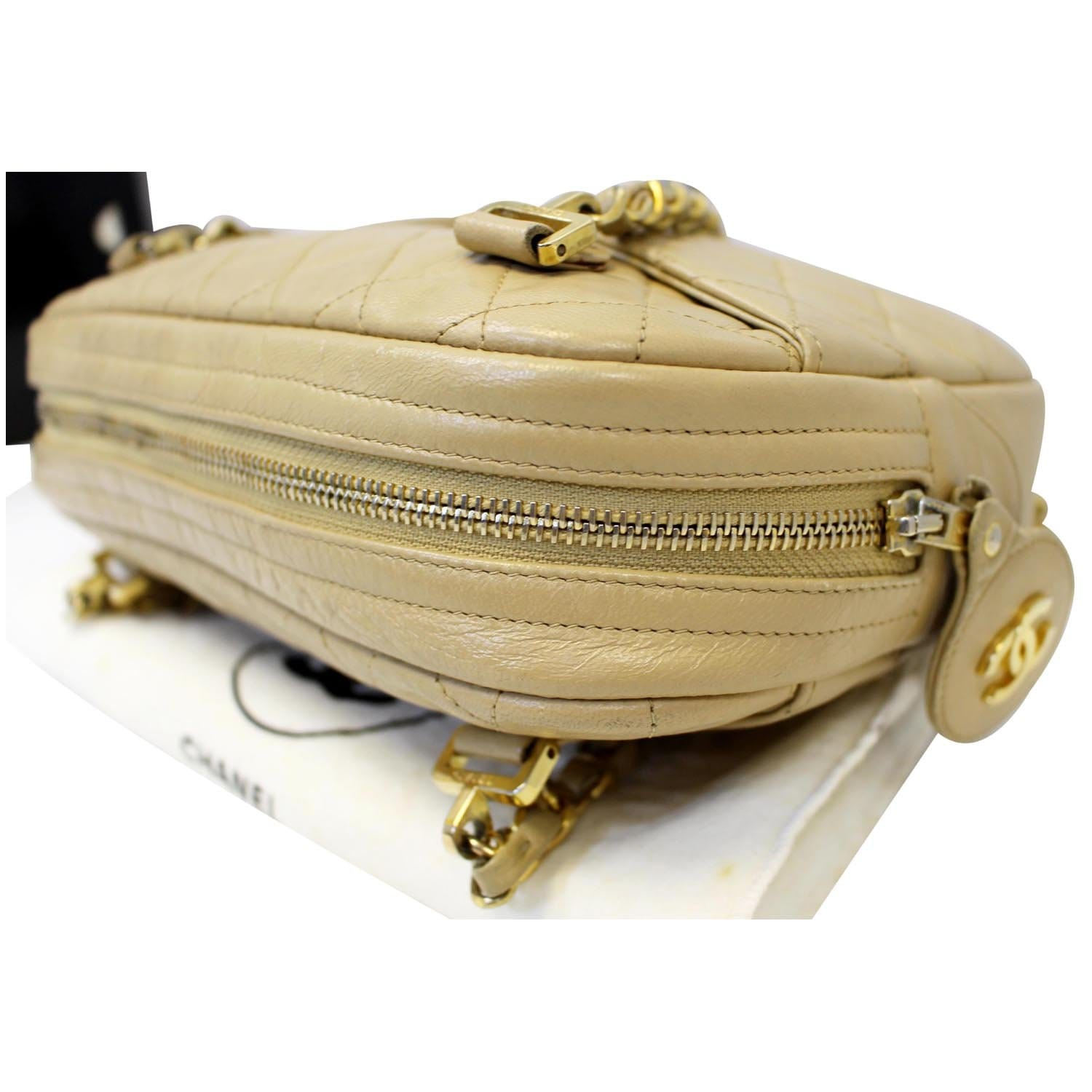 f77e678a2537c4 CHANEL Beige Lambskin Leather Camera Shoulder Bag-US