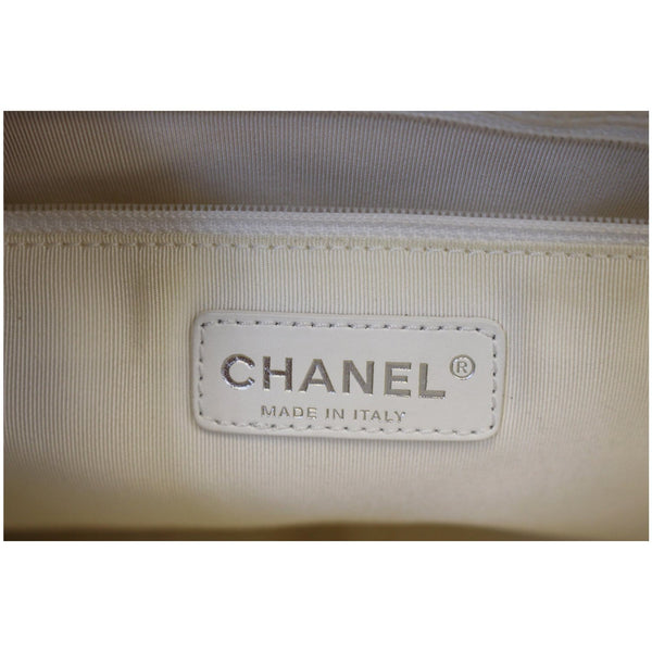 Chanel Tote Bag Grand Shopping Caviar Leather in White logo