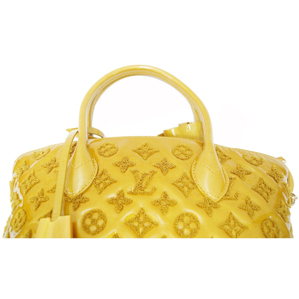 LOUIS VUITTON Monogram - Lockit lambskin Satchel Bag Mustard handles
