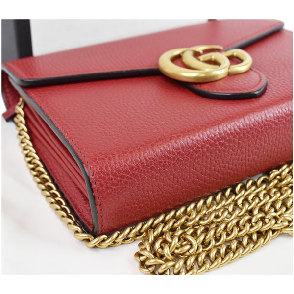 GUCCI GG Marmont Leather Crossbody Chain Wallet Red 401232