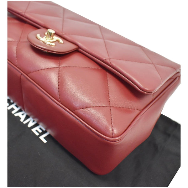 CHANEL Large Quilted Classic Flap Lambskin Leather Shoulder Bag Red
