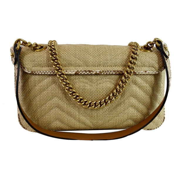 Gucci GG Marmont Raffia Small Shoulder Ba front view
