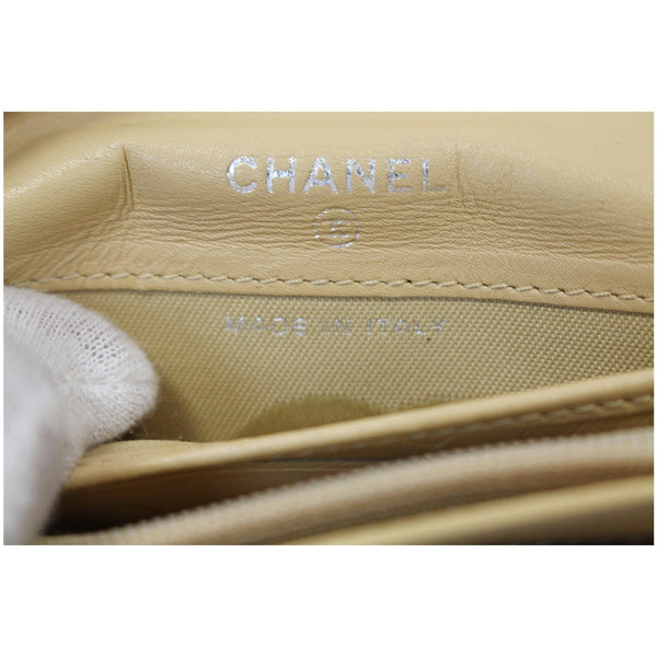Chanel Cambon Flap Calfskin Quilted Wallet Beige interior