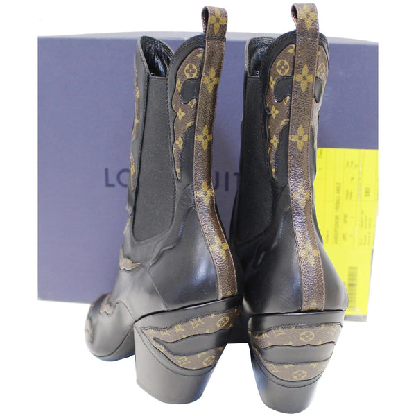 Back side LV Fireball Leather Monogram Ankle Boots