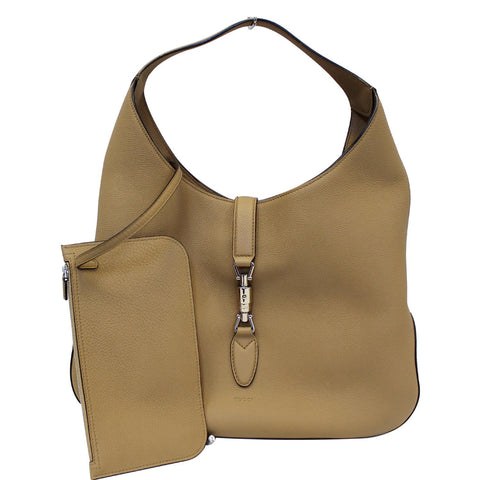 GUCCI Jackie Soft Leather Hobo Bag 362968 Beige