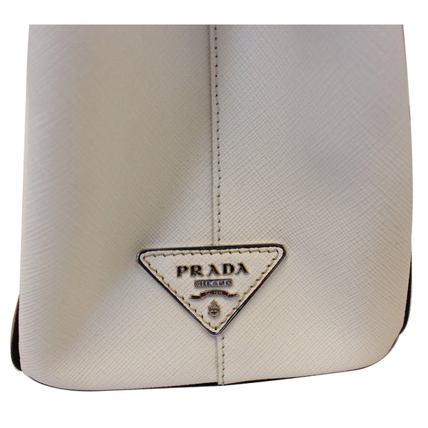 Prada Galleria Bag Striped Saffiano Leather Tote Bag - side Logo