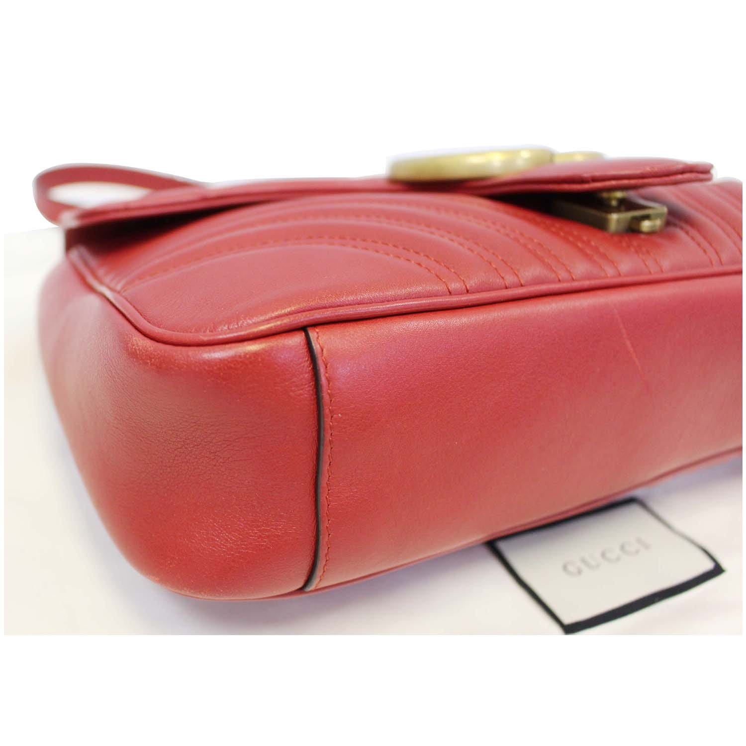 bb4060e15a0fba GUCCI GG Marmont Matelasse Red Leather Shoulder Bag-US