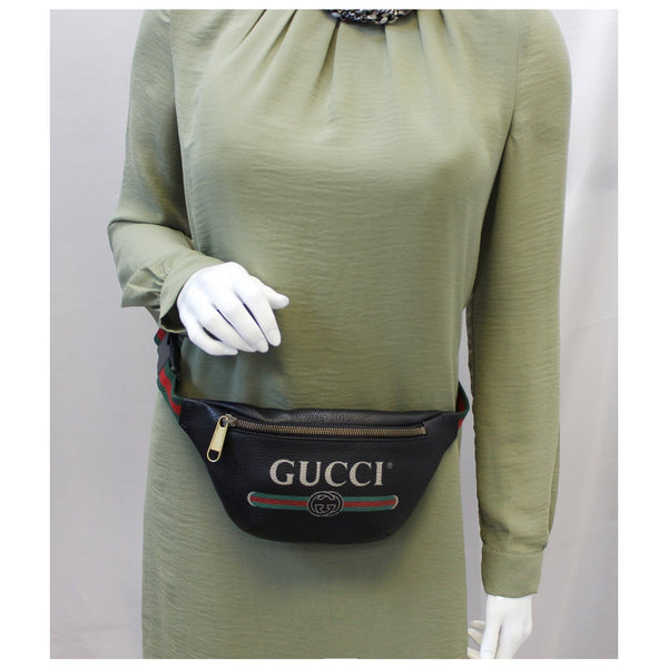 GUCCI Print Leather Black Belt Waist Bum Bag Small 527792