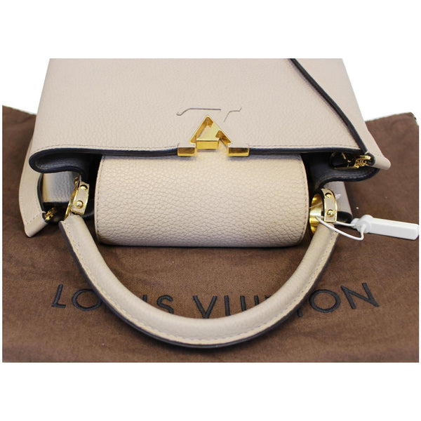 Louis Vuitton Capucines PM Taurillon Leather Shoulder Bag galet grey