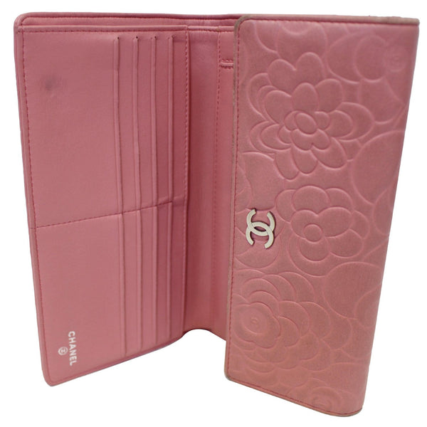 CHANEL Camellia Leather Trifold Wallet Pink-US