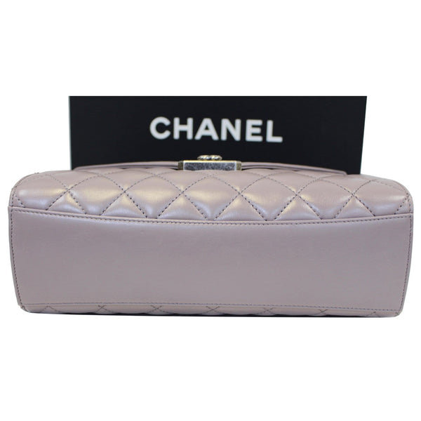 Chanel Flap Bag Quilted Sheepskin with Handle Lilac bottom view
