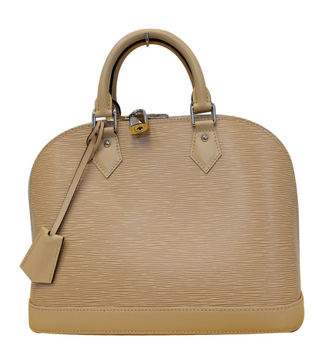 Louis Vuitton Alma Epi Leather Satchel Bag Beige