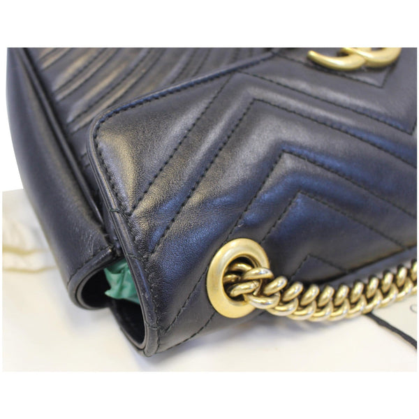 GUCCI GG Marmont Small Matelasse Leather Crossbody Bag Black