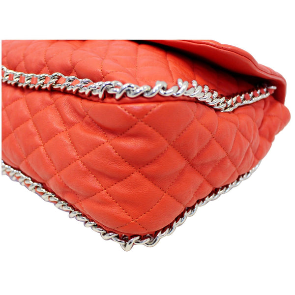 CHANEL Maxi Chain Around Quilted Leather Flap Shoulder Bag Red