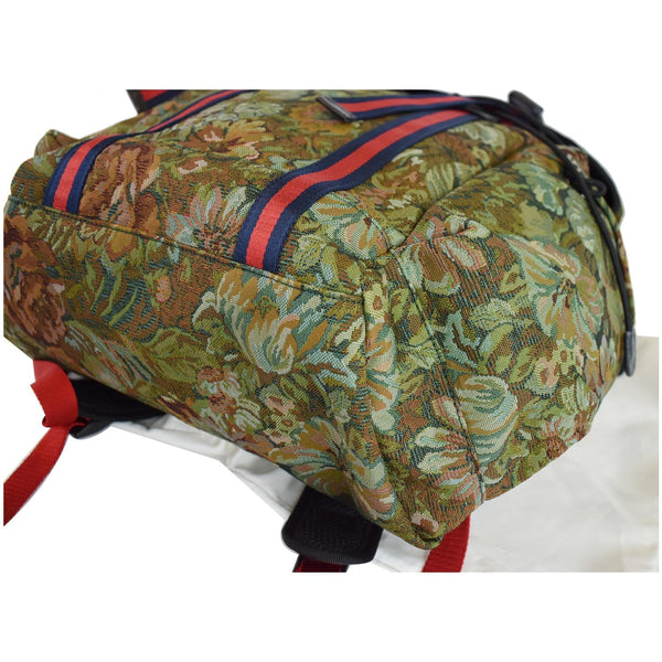 Gucci Floral Brocade Leather Backpack Bag side preview