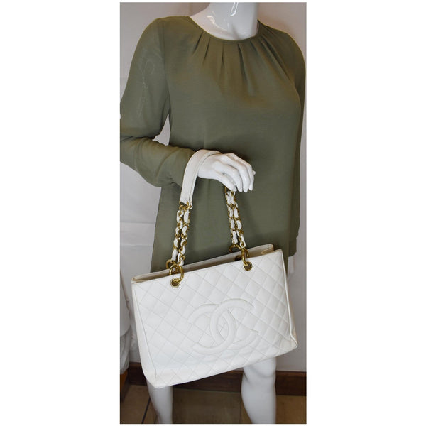 CHANEL Grand Shopping Caviar Leather Tote Bag White