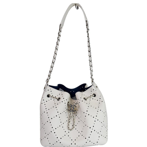 Chanel CC Drawstring Medium Perforated Caviar Bucket Bag White