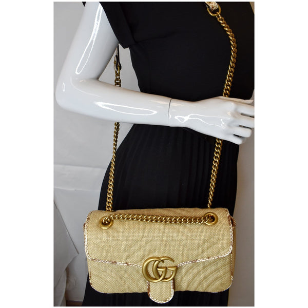 Gucci GG Marmont Raffia Small Shoulder Handbag
