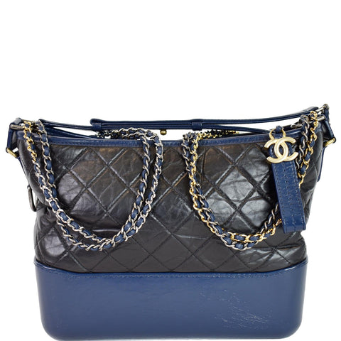 CHANEL Gabrielle Medium Quilted Leather Hobo Bag Black/Blue