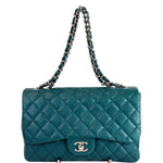 CHANEL Jumbo Classic Single Flap Lambskin Crossbody Bag Teal