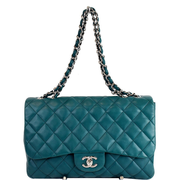 CHANEL Jumbo Classic Double Flap Lambskin Crossbody Bag Teal