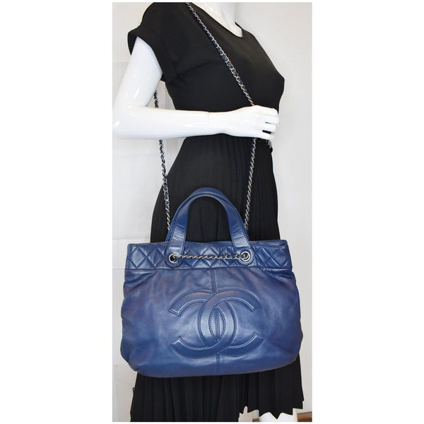 CHANEL Soft CC Shopping Leather Tote Shoulder Bag Blue