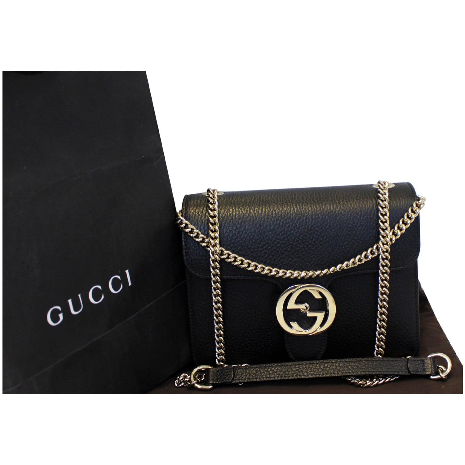 766440a2cf8 GUCCI Interlocking GG Leather Crossbody Bag Black 510304-US