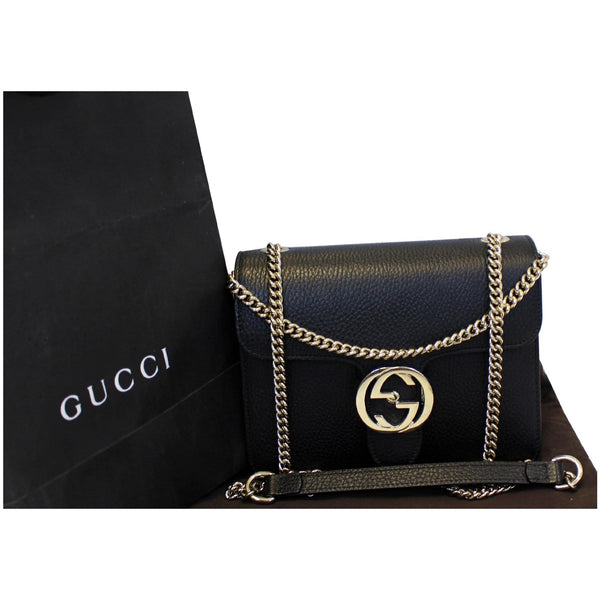 Gucci Crossbody Bag Interlocking GG Leather Black - front view