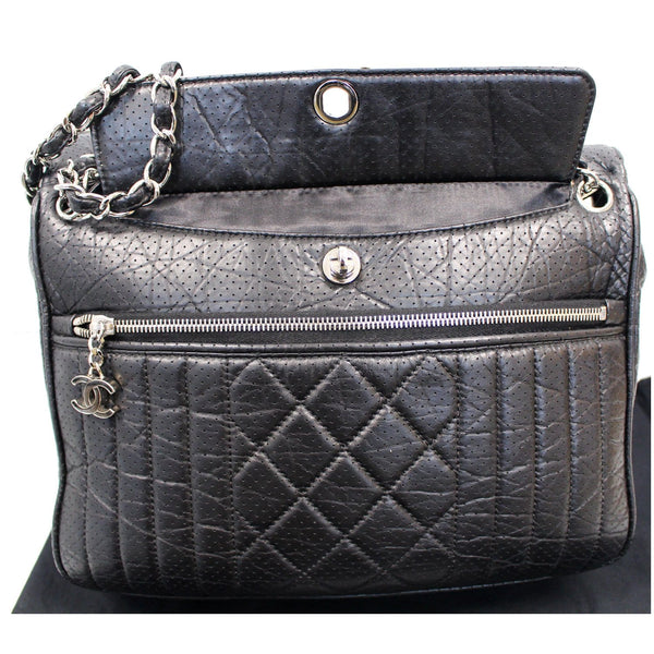 Chanel Calfskin Perforated 50's Bowler Bag - front side view\