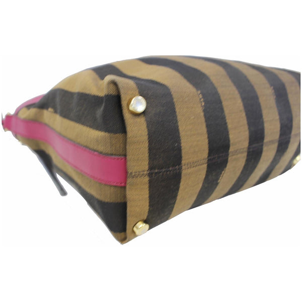 Fendi Tobacco Pequin Stripe Canvas Large - bottom view