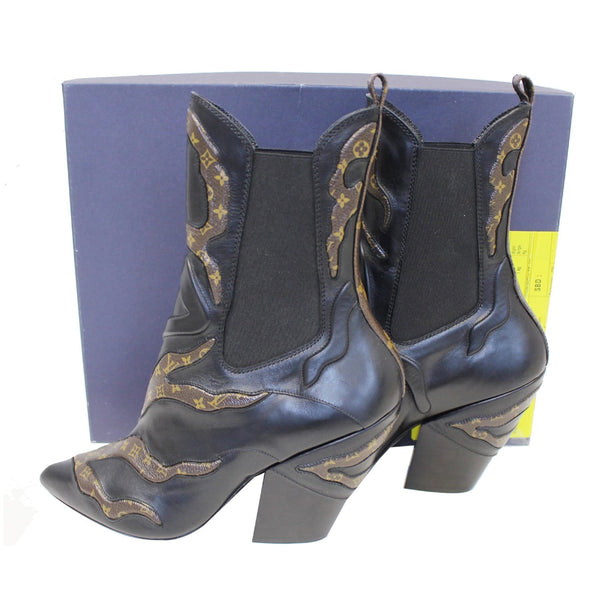 women LV Fireball Leather Monogram Ankle Boots