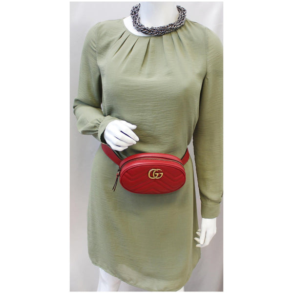 GUCCI GG Marmont Matelasse Leather Belt Bag 476434 Red