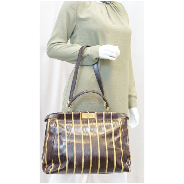 Fendi Peekaboo Striped Eel Skin Leather Bag for women