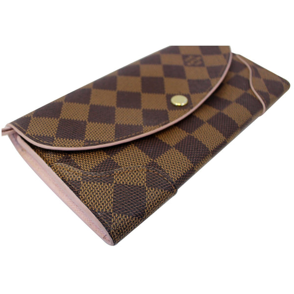 LOUIS VUITTON Caissa Damier Ebene Wallet Rose Ballerine-US