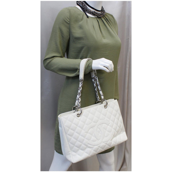 Chanel Tote Bag Grand Shopping Caviar Leather in White for women