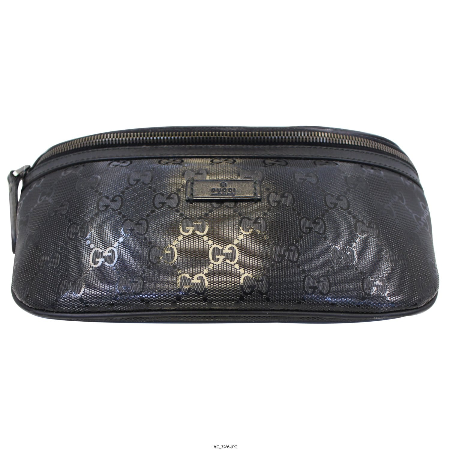 e2f7ea2199f68d GUCCI GG Imprime Monogram Waist Bum Bag Black 233269-US