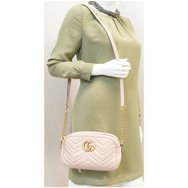 GUCCI GG Marmont Matelasse Small Leather Crossbody Bag Pink-US