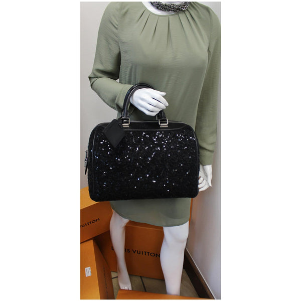 LOUIS VUITTON Sunshine Express Speedy Sequin Satchel Bag Black